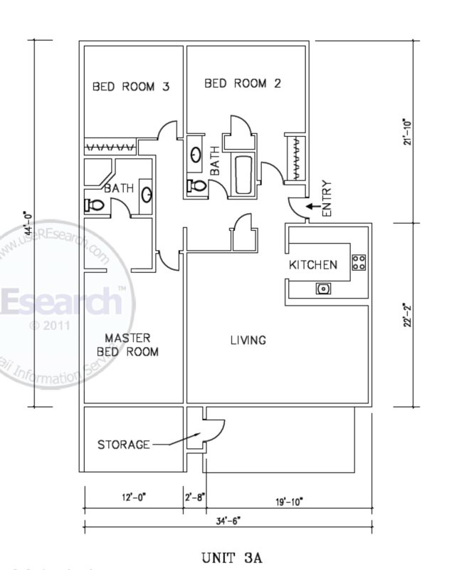 Floor Plan for Closest to the beach, 3 bedroom , 3 bath vacation condo, ground floor