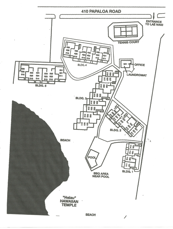 map of Lae nani condos kauai
