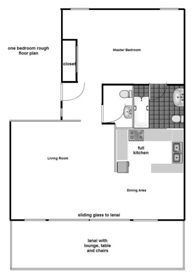 Floor Plan for Discount June. Great view from this newly remodeled Kauai second floor condo at Lae nani